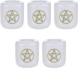 Mega Candles - 5 pcs Ceramic Gold Pentacle Chime Ritual Spell Candle Holder - White