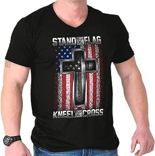 Stand Flag Kneel Cross Christian American V-Neck T Shirt