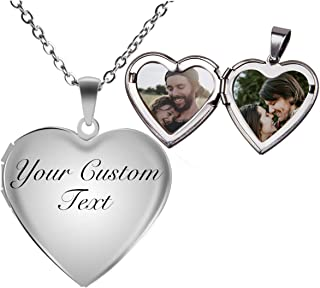 Fanery Sue Personalized Heart Locket Necklace That Holds Pictures Memory Photo Lockets Custom Any Photo Text&Symbols