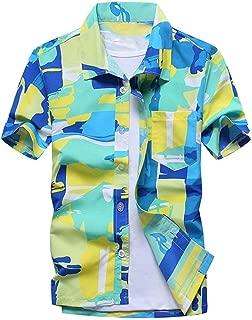 Men's Summer Hawaiian Shirts Single Breasted Light Beach Shirts Short Sleeve Breathable Shirts