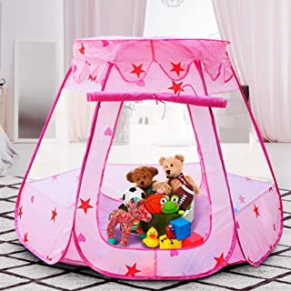 Magictent Princess Ball Pit Play Tent Toys,Girls Pop Up Playhouse for Toddler,Kids 1st Gift Pink Castle Tents Indoor & Outdoor Games(Balls Not Included) (Pink)