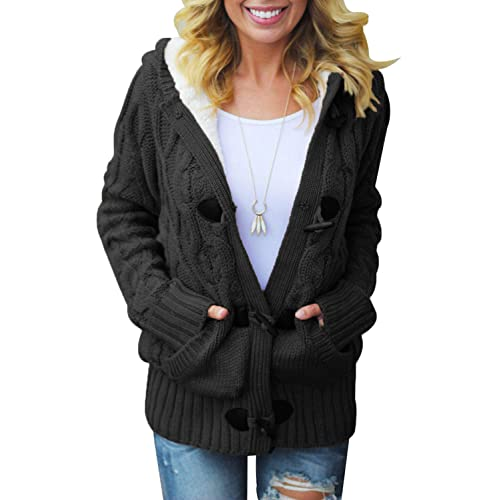 f0496dba19 Happy Sailed Womens Hooded Button Down Sweater Coat with Pockets