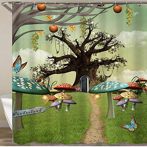 KGSPK Cortinas de Ducha,Cuento de Alicia en el país de Las Maravillas con árbol de Setas de fantasía en la Pradera del país,Impermeable Cortinas Baño y Lavables Cortinas Bañera 180x180CM