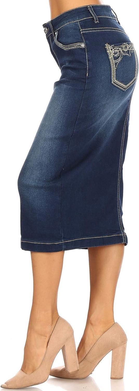 Fashion2Love Women's Juniors/Plus Size Calf- Length Pencil Stretch Denim Skirt (77559)