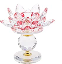 MagiDeal Crystal Lotus Flower Candle Holder Tealight Holder Candlestick Crafts Home Feng Shui Decor - Red