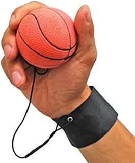 GOGO Pack of 6 Rubber Bouncy Balls with Wrist Strap & String for Finger Exercise