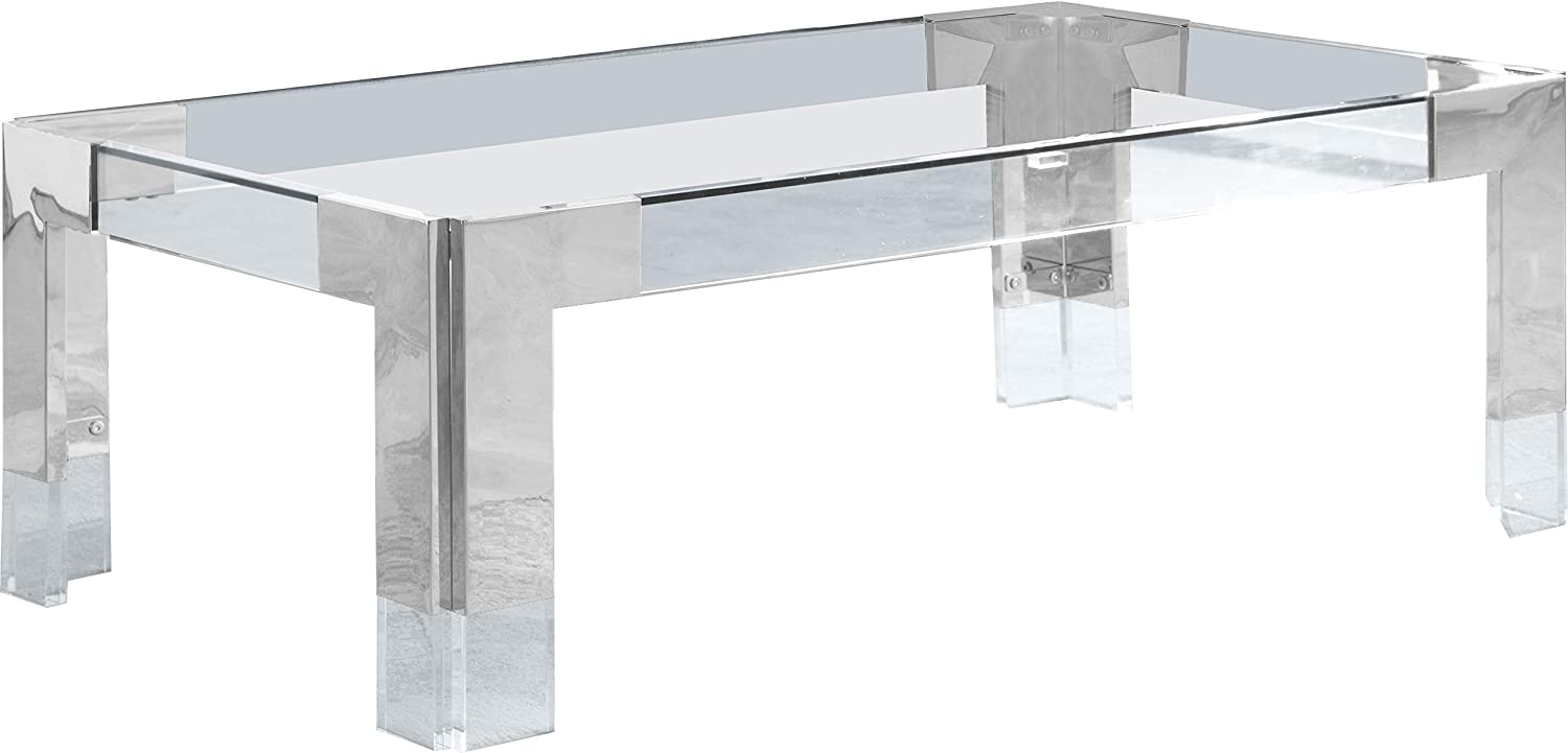 Meridian Furniture Casper Collection Modern   Contemporary Glass Top Coffee Table with Sturdy Stainless Steel and Acrylic Base, 47