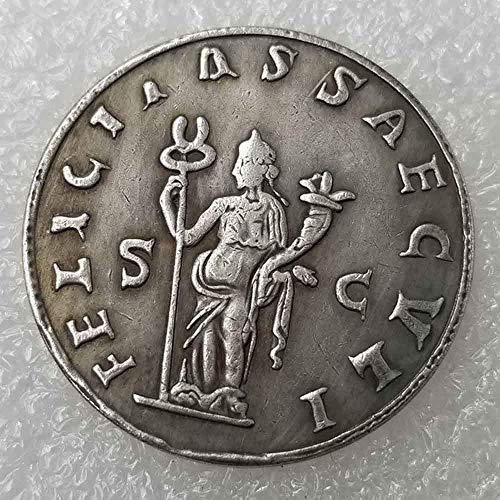 Moneda romana YunBest con diseño antiguo de Philosopher King, monedas romanas del Imperio, moneda romana antigua, chapada en plata de ley 925 BestShop