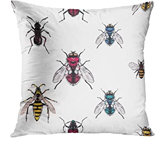 Meofo Throw Pillow Cover Brown Bug Forest Ant Yellow Pattern Animal Fly Seamless Painting Art Decorative Polyester Soft Pillowcase for Sofa Office Cushion Bedroom Car Square 20 x 20 Inch