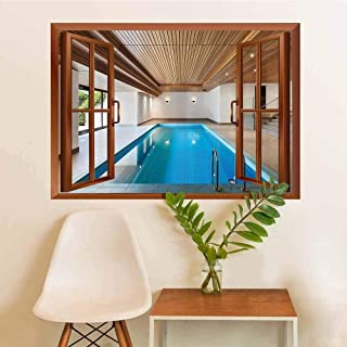 House Decor Collection Modern Art Sticker Apartment with Indoor Pool Wooden Ceiling Private Residence Stylish Home Perspective Picture Room Decoration W36xL48 INCH