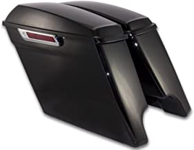 """Bagger Brothers ( BB-HD1584-001R )4.5"""" Extended Vivid Black Harley Davidson ABS Plastic Saddlebags, Completely Assembled, Fit 2014-2018 FLH Touring Models, Dual Exhaust Cutouts"""