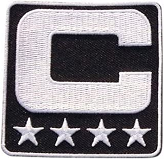 Black Captain C Patch Iron On for Jersey Football, Baseball. Soccer, Hockey, Lacrosse, Basketball
