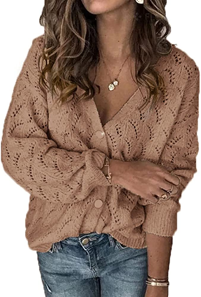 Womens V Neck Knit Sweater Button Casual Hollow Out Long Quality inspection Sleeve free