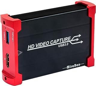 Mirabox キャプチャボード USB 3.0ビデオゲームキャプチャ1080p @ 60fps PS4 Xbox Wii UおよびPS3をHD Loopoutでサポート、プラグアンドプレイサポートHDMIゲームライブ録画/ HDMIビデオ録画/ライブストリーミングキャプチャデバイス、Windows 7/8/10 MacBook Linux OBS Potplayer Youtube Twitch HSV321