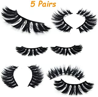 False Mink Lashes| Siberian Mink Fur Lashes| Dramatic Flare Look| 3D Layered | 100% Cruelty-Free & Handmade| Reuseable False Eyelashes| 5 Pair (G800)
