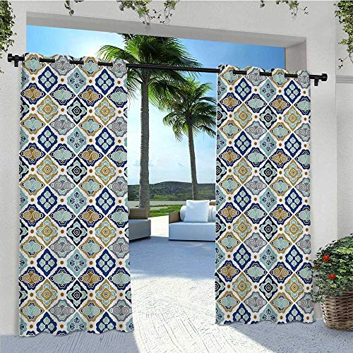Print Outdoor Curtains Moroccan Tiles Paisley Geometric Diamonds Circles Flowers Art Print Heavy Duty Outdoor Curtain Panel Perfect for Your Deck Navy Blue Brown White Olive Gray W96 x L84 Inch