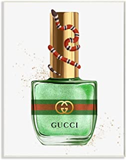 Stupell Industries Makeup Nail Polish Green Gold Snake Fashion Design Wall Plaque, 13x19, Multi-Color