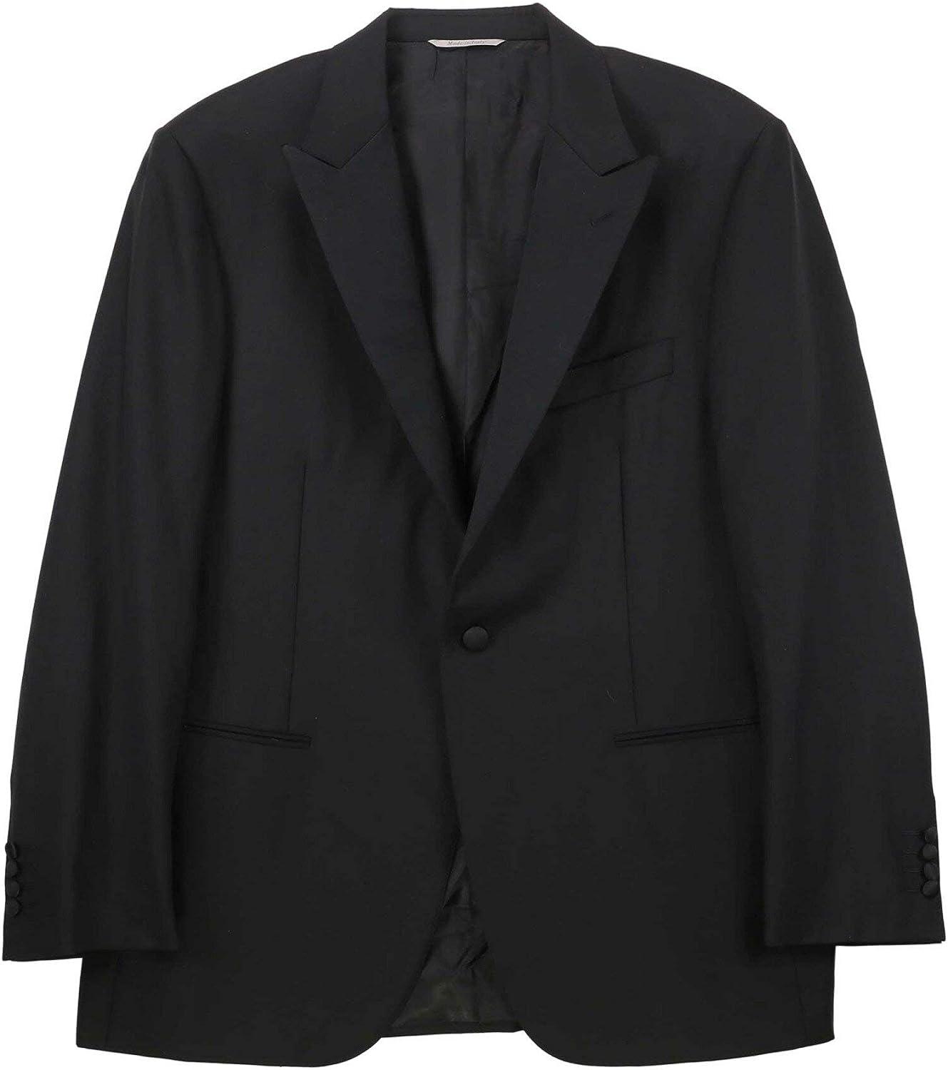 Canali Men's Black Elegant Wool Tuxedo with Silk Peak Lapels Suit - 38 Short
