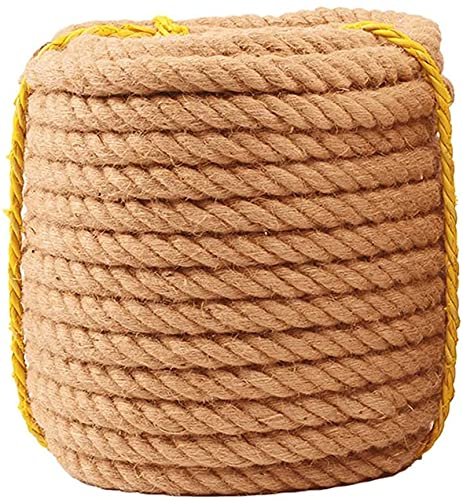 Fine-Knitted 50m Length Jute Rope, Natural Thick Hemp Rope Solid Braid Sisal Rope Jute Twine, for Tie/Pull/Swing/Climb and Knot