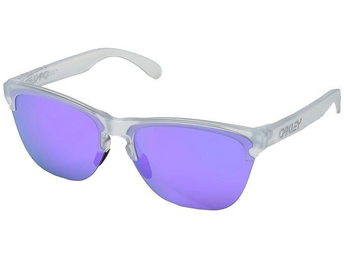 Oakley Frogskins Lite (Semi Matte Clear w/ Violet Iridium) Athletic Performance Sport Sunglasses