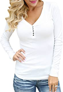 Women's Long Sleeve Solid Sexy V Neck Knit Ribbed Henley Shirt Blouse Tops