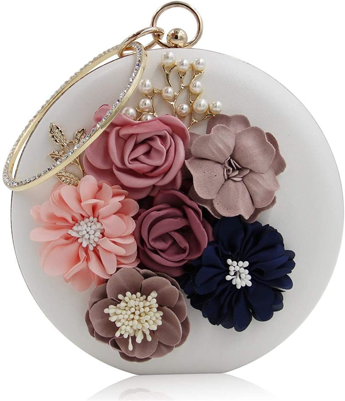 Ladies Handbag Elegant Women's Round Hand-Wound Flower Beaded Evening Bag High-Grade Diamond-Encrusted Pearl Evening Bag Bride's Ball Handbag (color   White)