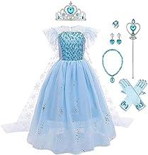 FYMNSI Mädchen Prinzessin ELSA Kostüme Eiskönigin Tüll Kleid mit Umhang Zubehör Kinder Eisprinzessin Verkleidung Halloween...