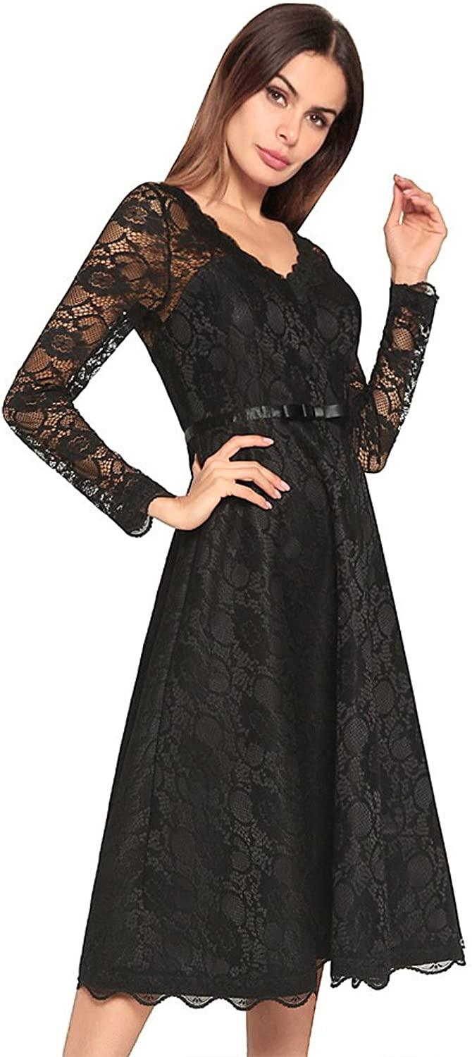 CIFFOST Women's Vintage V Collar Floral Lace Long Sleeve Party Evening Dress