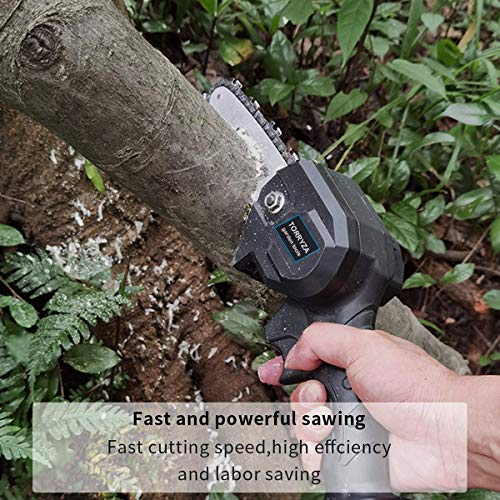 TORRYZA Mini Chainsaw 4-Inch Cordless Power Chain Saws, Portable 26V Electric Chainsaw, Pruning Shears Chainsaw for Courtyard Tree Branch Wood Cutting -Black 26V