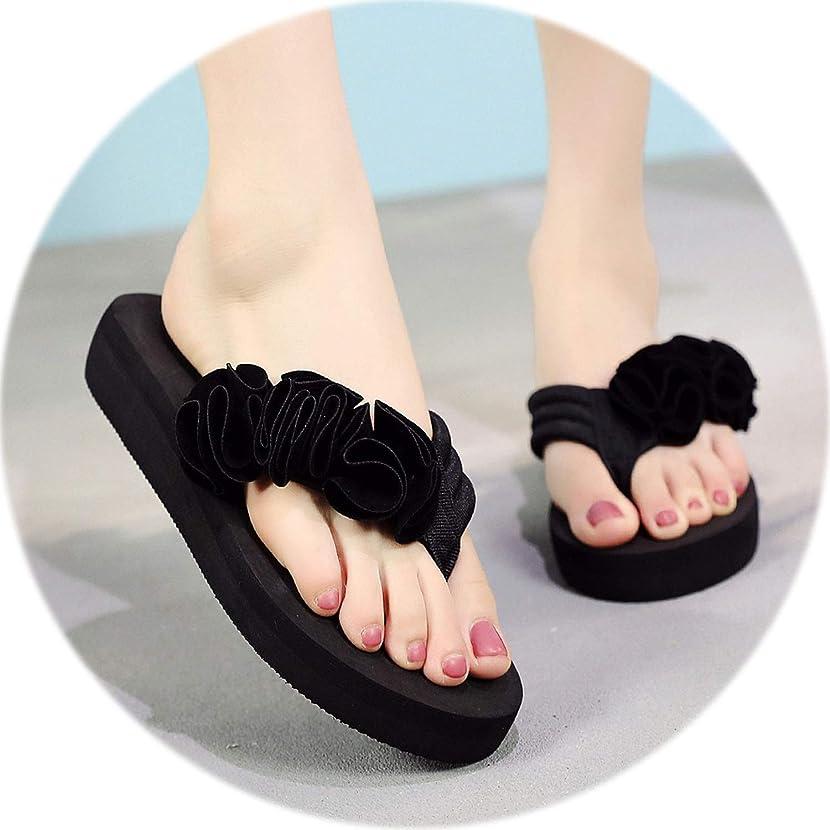 floral hoop Summer Women's Shoes Flower Clip Toe Flip Flops Non-Slip Wedges Beach Slippers Indoor Outdoor