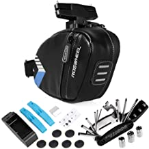 Portable Bicycle Saddle Bag with Repair Tools Kits Waterproof Cycling Rear Seat Post Bag with 16 in 1 Bicycle Repair Multi...