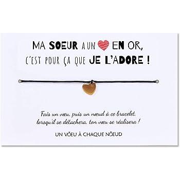 Carte De Voeux Ma Soeur Je L Adore Bracelet Porte Bonheur 1 Cœur Or Enveloppe Fabrique En France Idee Cadeau Original Anniversaire Soeur Noel Amazon Fr Fournitures De Bureau
