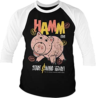 TOY STORY Officially Licensed HAMM Baseball 3/4 Sleeve T-Shirt (White-Black)