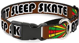 "Buckle Down Eat Sleep Skate Brown/Rasta Burst Martingale Dog Collar 1"" Wide - Fits 15-26"" Neck - Large MGC-W30529-L"