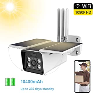 FUVISION Solar Powered Outdoor Security Camera,1080P WiFi Camera Wireless,IP66 Waterproof,2-Way Audio,Night Vision,Motion Detection,Smart Outdoor Surveillance Cam-iOS/Android App