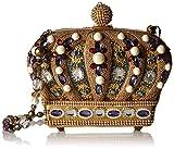 Mary Frances Queendom Beaded Jeweled Royal Crown Shoulder Handbag Purse, Gold