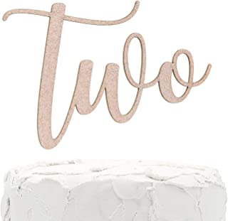 NANASUKO 2nd Birthday Cake Topper - Two - Double Sided Rose Gold Glitter - Premium Quality Made in USA