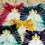 Kit de pintura por número, Diy pintura al óleo dibujo abstracto Cabeza de gato lienzo con decoración de cepillos decoración regalos - 16x20 pulgadas sin marco
