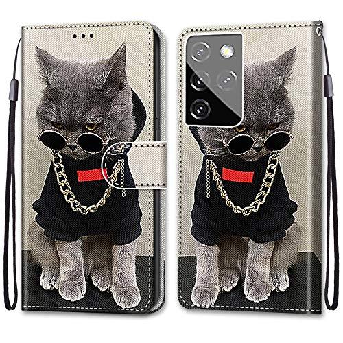 Nadoli Handyhülle Leder für Samsung Galaxy S30 Ultra,Bunt Bemalt Cool Gold Kette Katze Trageschlaufe Kartenfach Magnet Ständer Schutzhülle Brieftasche Ledertasche Tasche Etui