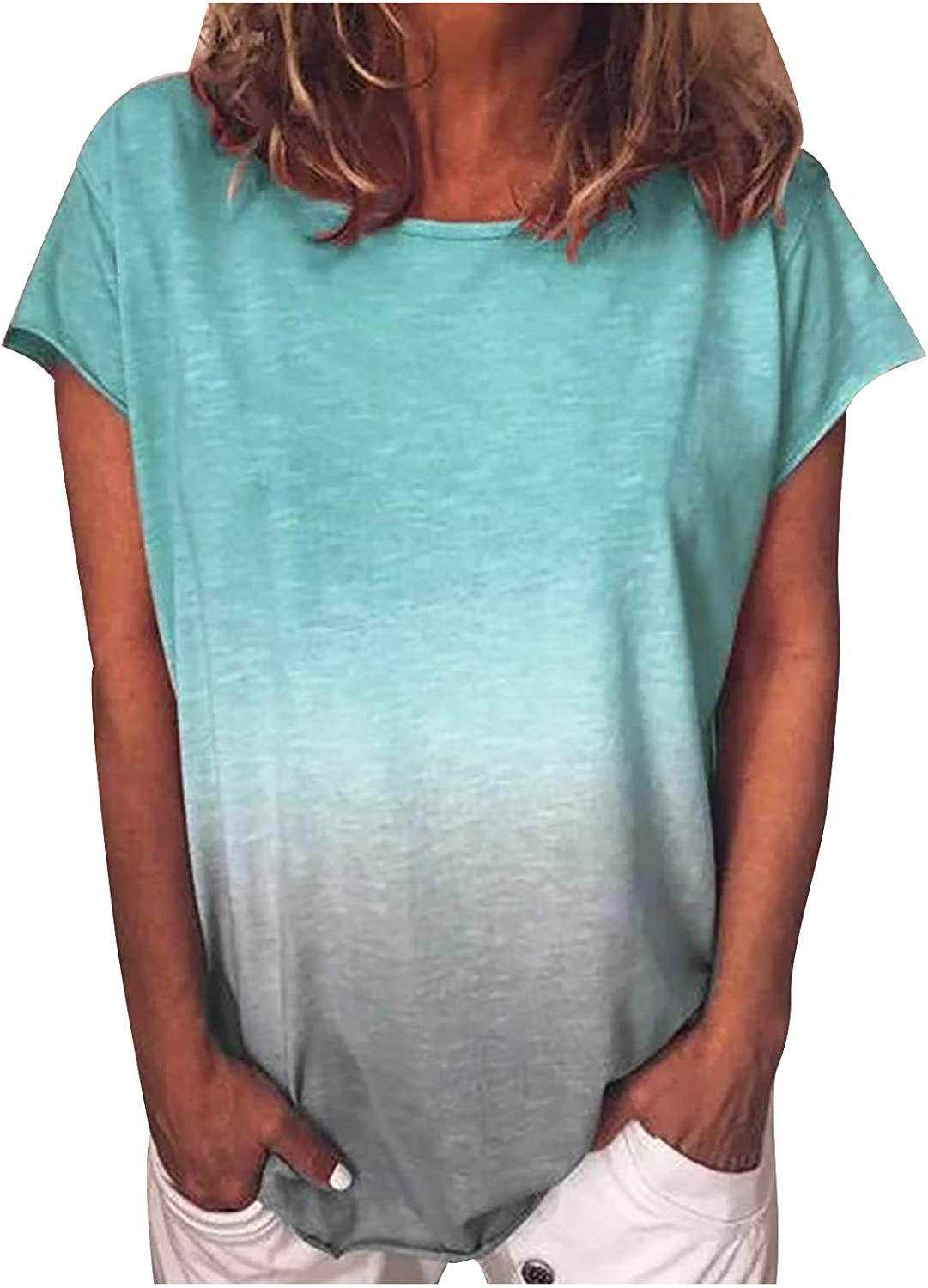 Womens Summer Tops Gradient Color Short Sleeve T-Shirt Plus Size Comfy Tunic Round Neck Basic Blouse