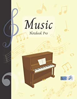Music Notebook Pro With Instrument - Piano   Advanced 10 Staves Interior With Educational Materials: Music Manuscript Pape...