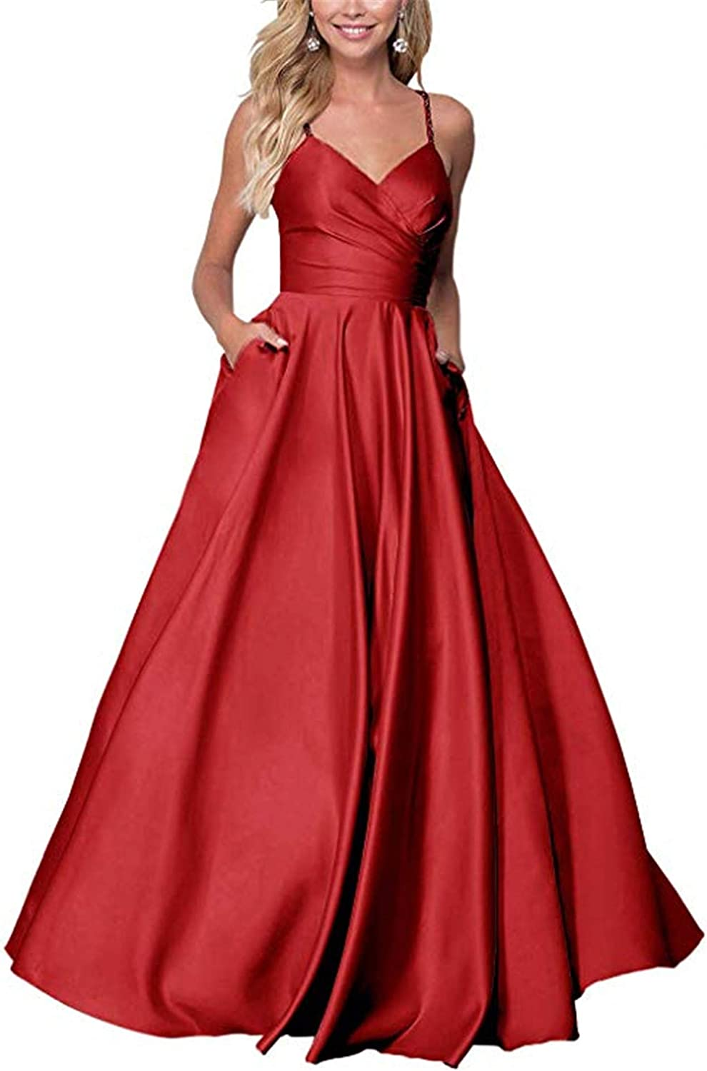 QiJunGe Women's V Neck A Line Prom Dress with Pockets Satin Spaghetti Formal Ball Gown