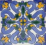 Flores - Azulejos Mexicanos de 10x10 cm, Paquete de 30 piezas, Baldosas de...