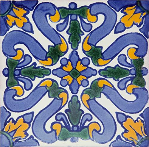 Flores - Azulejos Mexicanos de 10x10 cm, Paquete de 30 piezas, Baldosas de cerámica artesanal de Talavera para baños, pared de cocina, ducha, escaleras