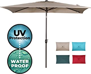 Abba Patio Rectangular Patio Umbrella Outdoor Market Table Umbrella with Push Button Tilt and Crank, 6.6 by 9.8 Ft,Cream