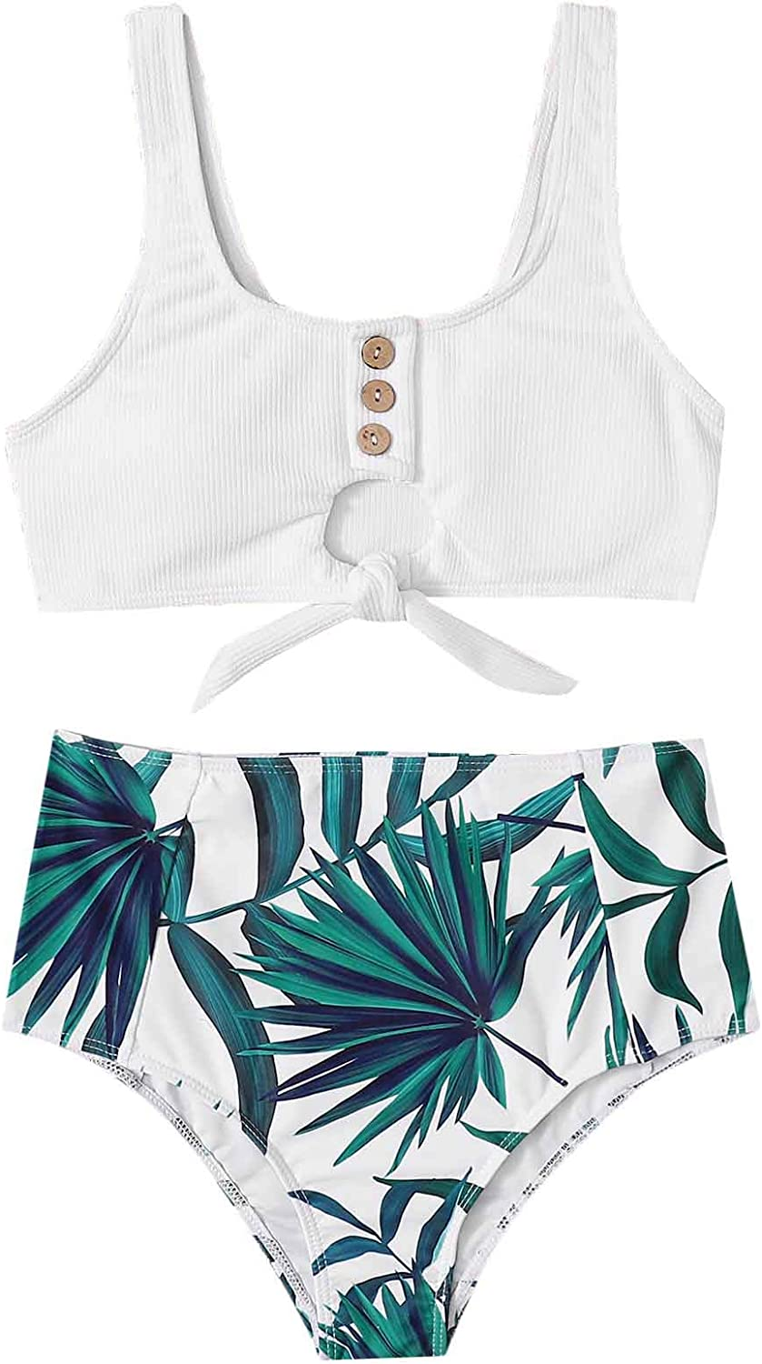 SOLY HUX Women's Knot Hem Top with High Waist Ruched Panty Two Piece Swimsuits Bathing Suits White Tropical M