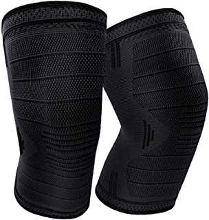 GDEBNJ Knee Compression Sleeve,Knee Braces Support for Arthritis ACL Meniscus Tear Running Sports Men Women(Black,L)