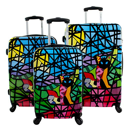"""Chariot Stained Glass Cat Expandable Hardside 28"""" Spinner TSA Lock"""