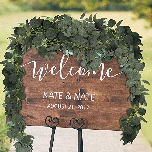 2Pack Artificial Eucalyptus Garland , 2M/6.5ft Faux Eucalyptus Leaves and Willow Vines Greenery Hanging Plant Garden Decorations for Wedding Arch Wall Table Party Decor (Green)