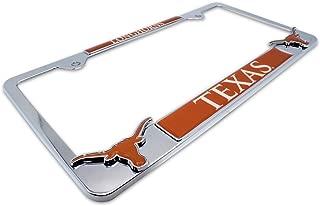AMG Premium NCAA Mascot License Plate Frame w/dual 3D Texas Longhorns logos (Texas)